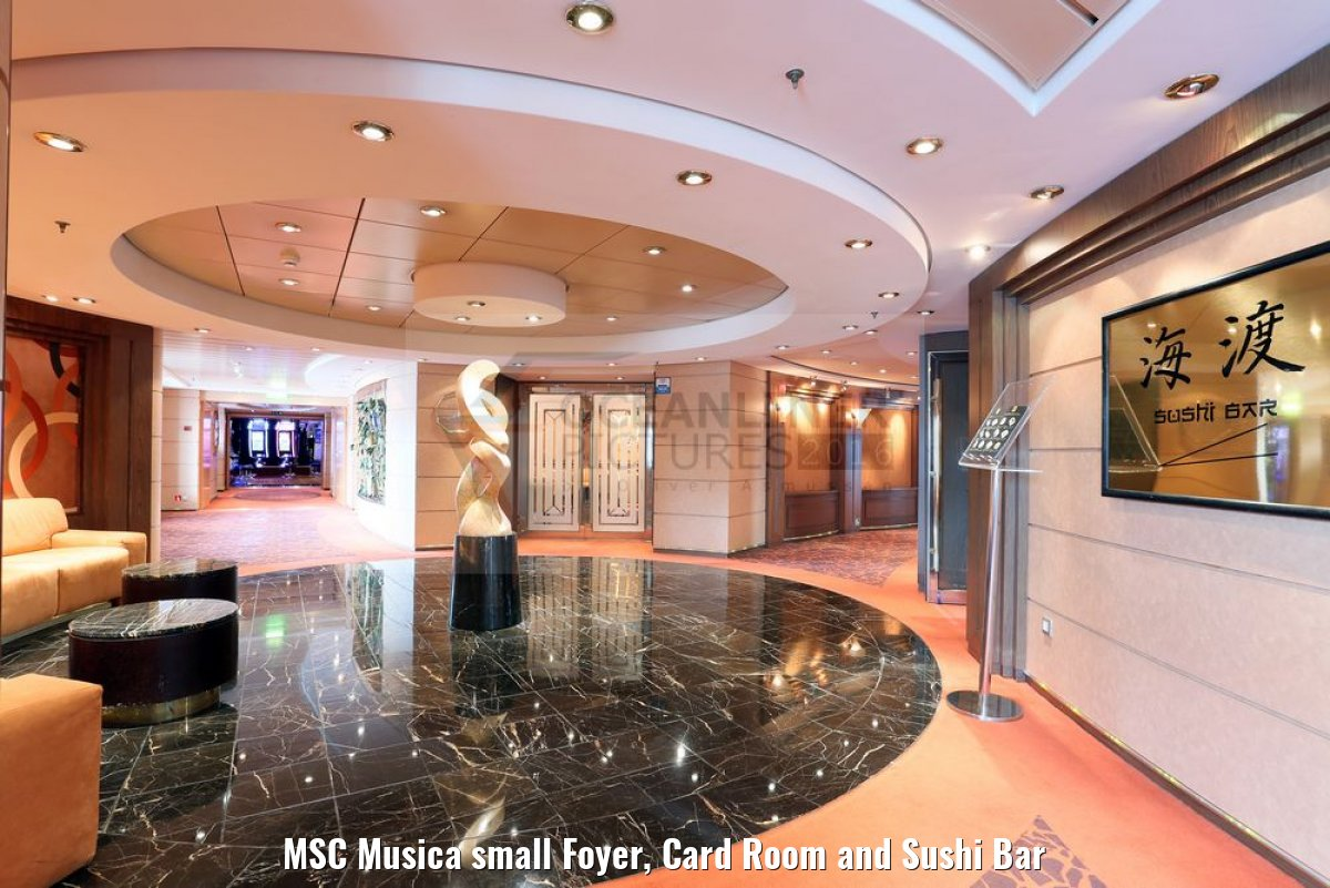 MSC Musica small Foyer, Card Room and Sushi Bar