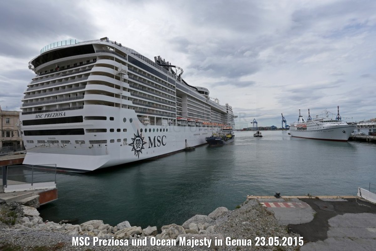 MSC Preziosa und Ocean Majesty in Genua 23.05.2015