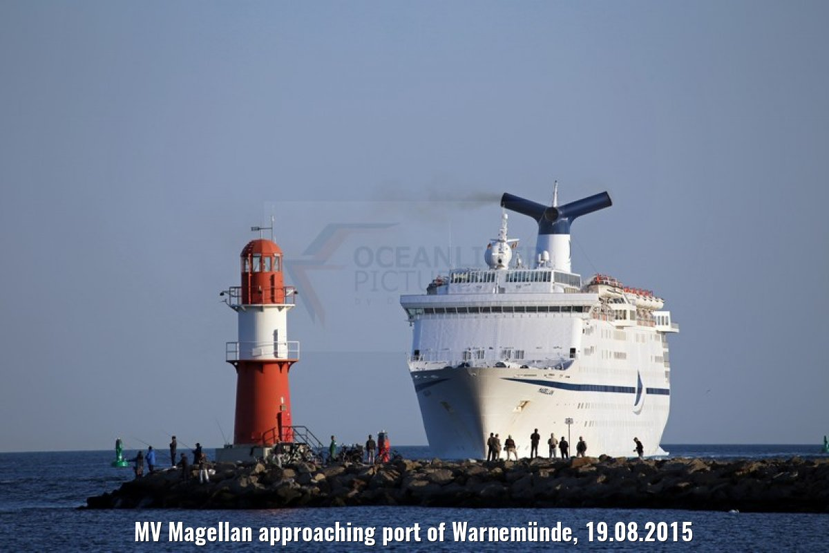 MV Magellan approaching port of Warnemünde, 19.08.2015