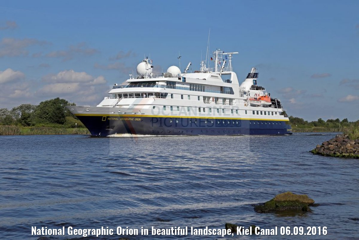 National Geographic Orion in beautiful landscape, Kiel Canal 06.09.2016