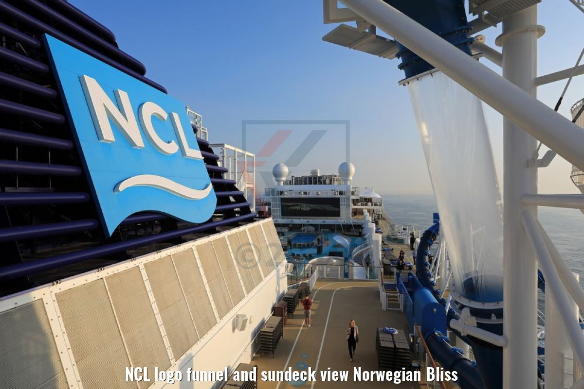 NCL logo funnel and sundeck view Norwegian Bliss