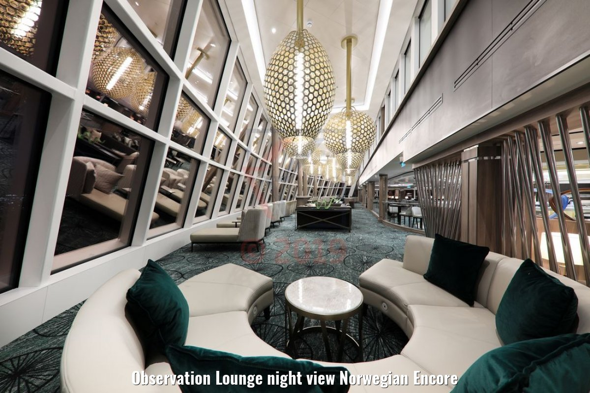 Observation Lounge night view Norwegian Encore