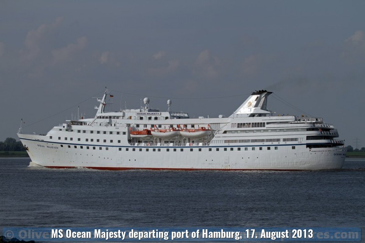 MS Ocean Majesty departing port of Hamburg, 17. August 2013
