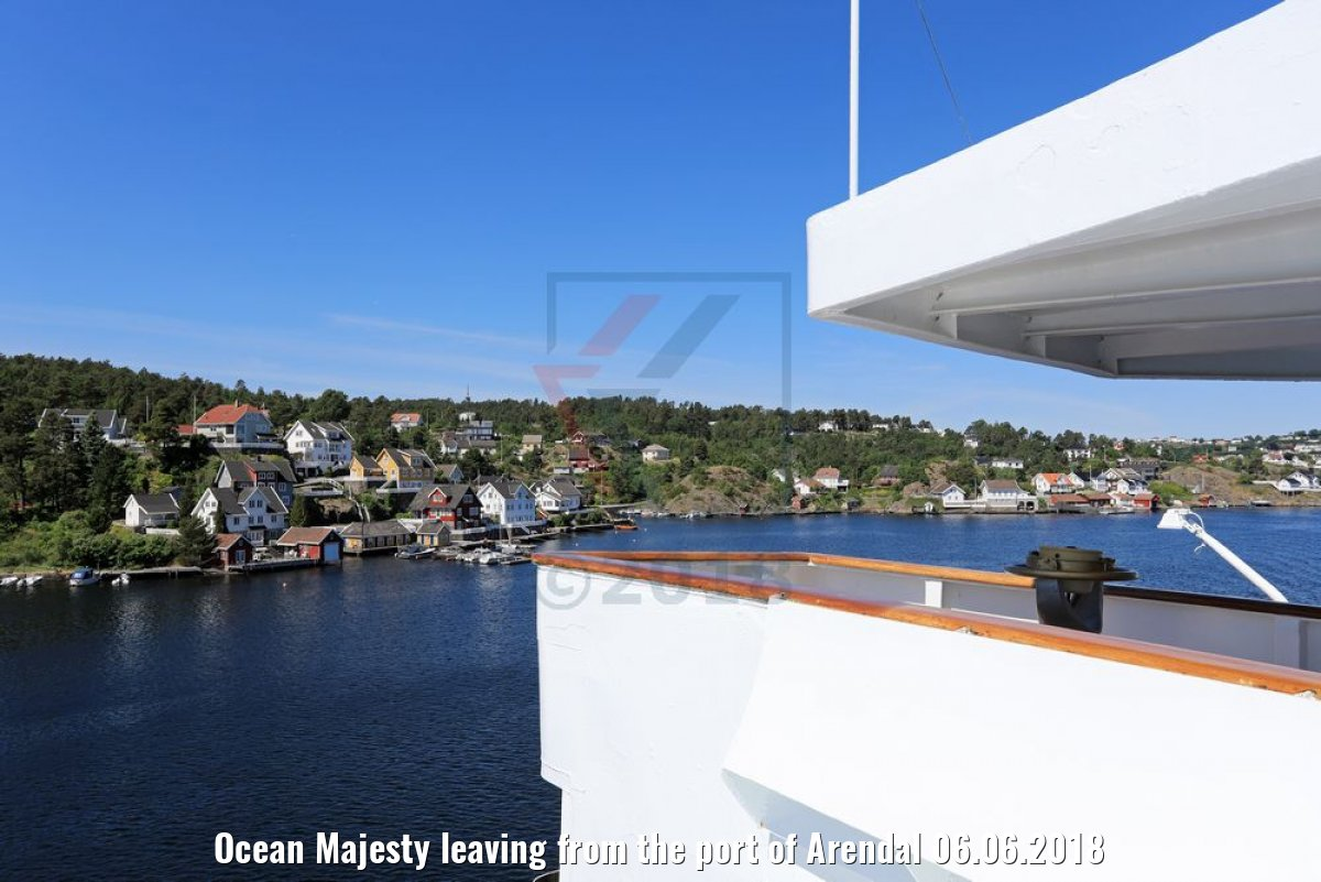 Ocean Majesty leaving from the port of Arendal 06.06.2018