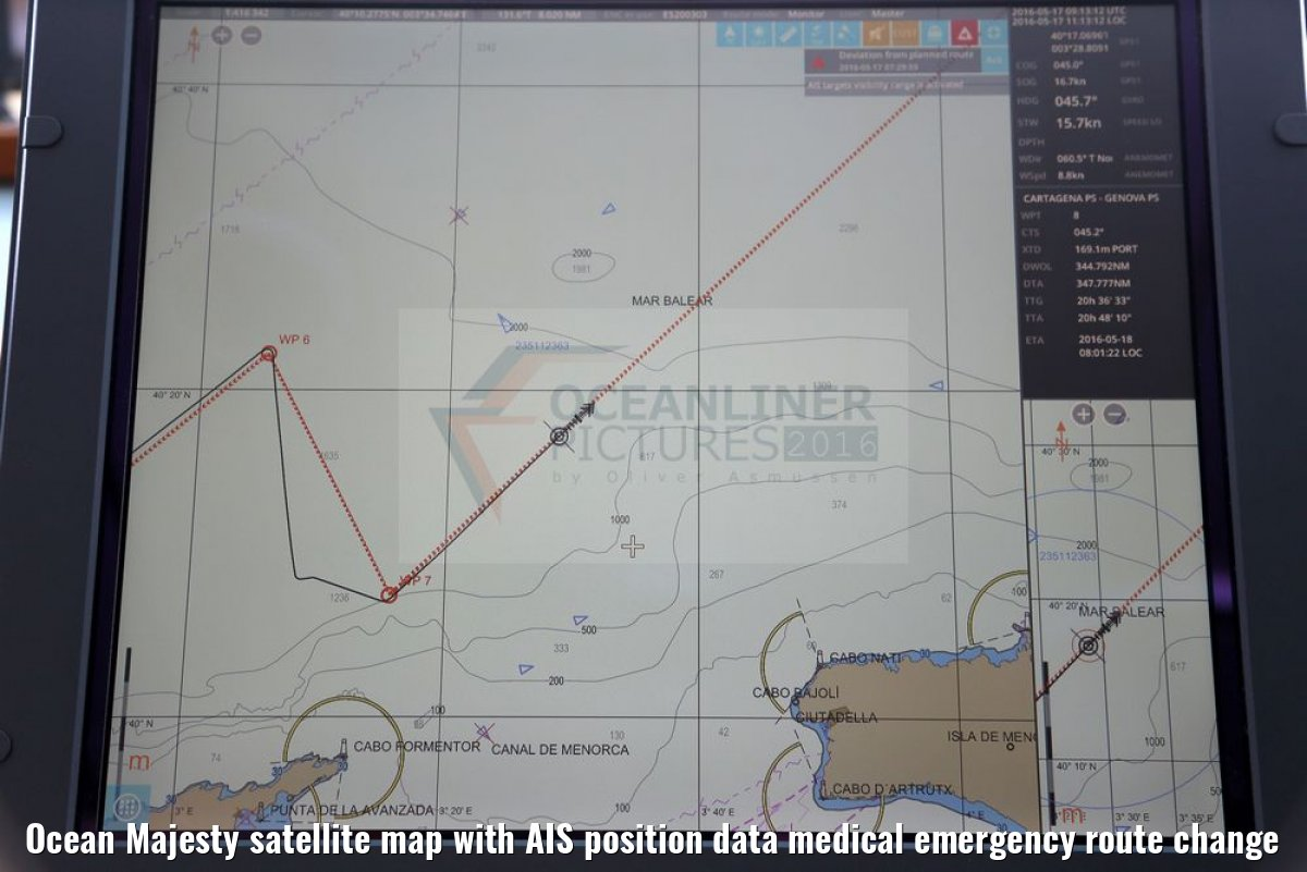 Ocean Majesty satellite map with AIS position data medical emergency route change