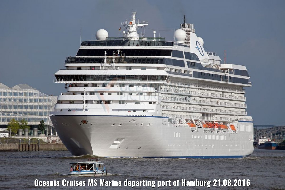 Oceania Cruises MS Marina departing port of Hamburg 21.08.2016