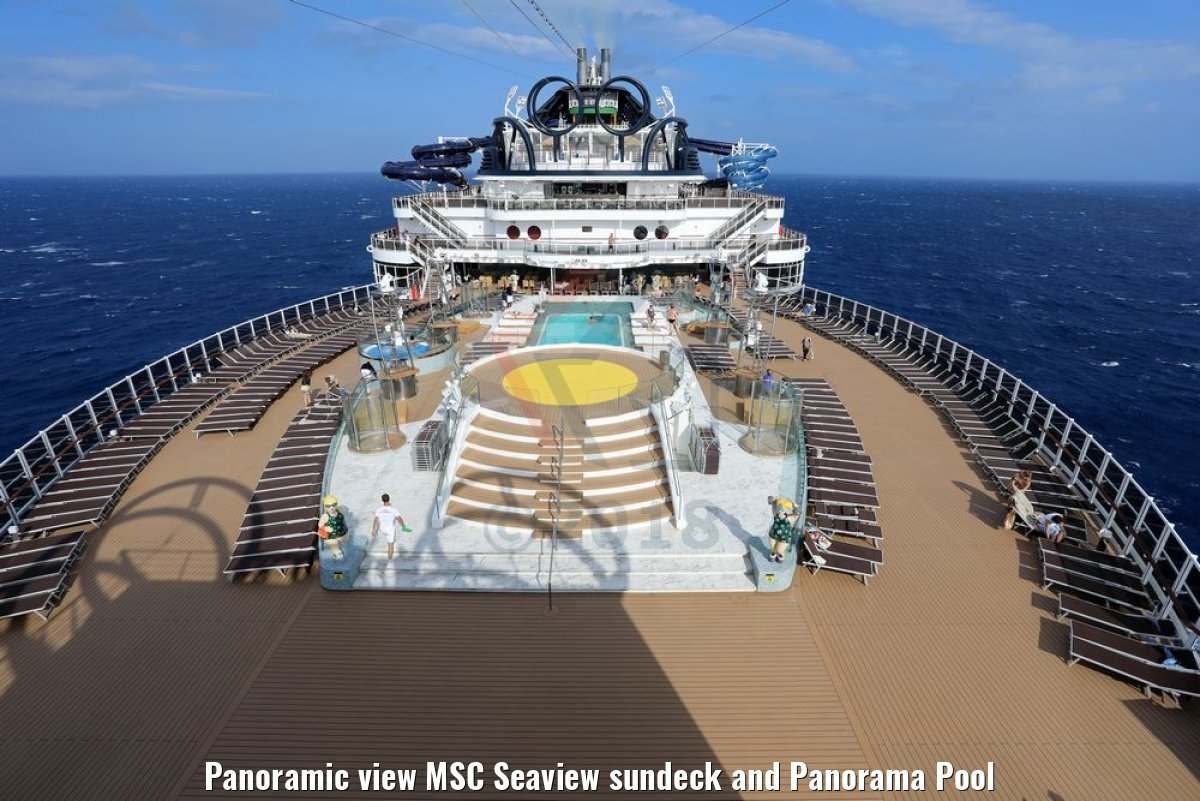 Panoramic view MSC Seaview sundeck and Panorama Pool