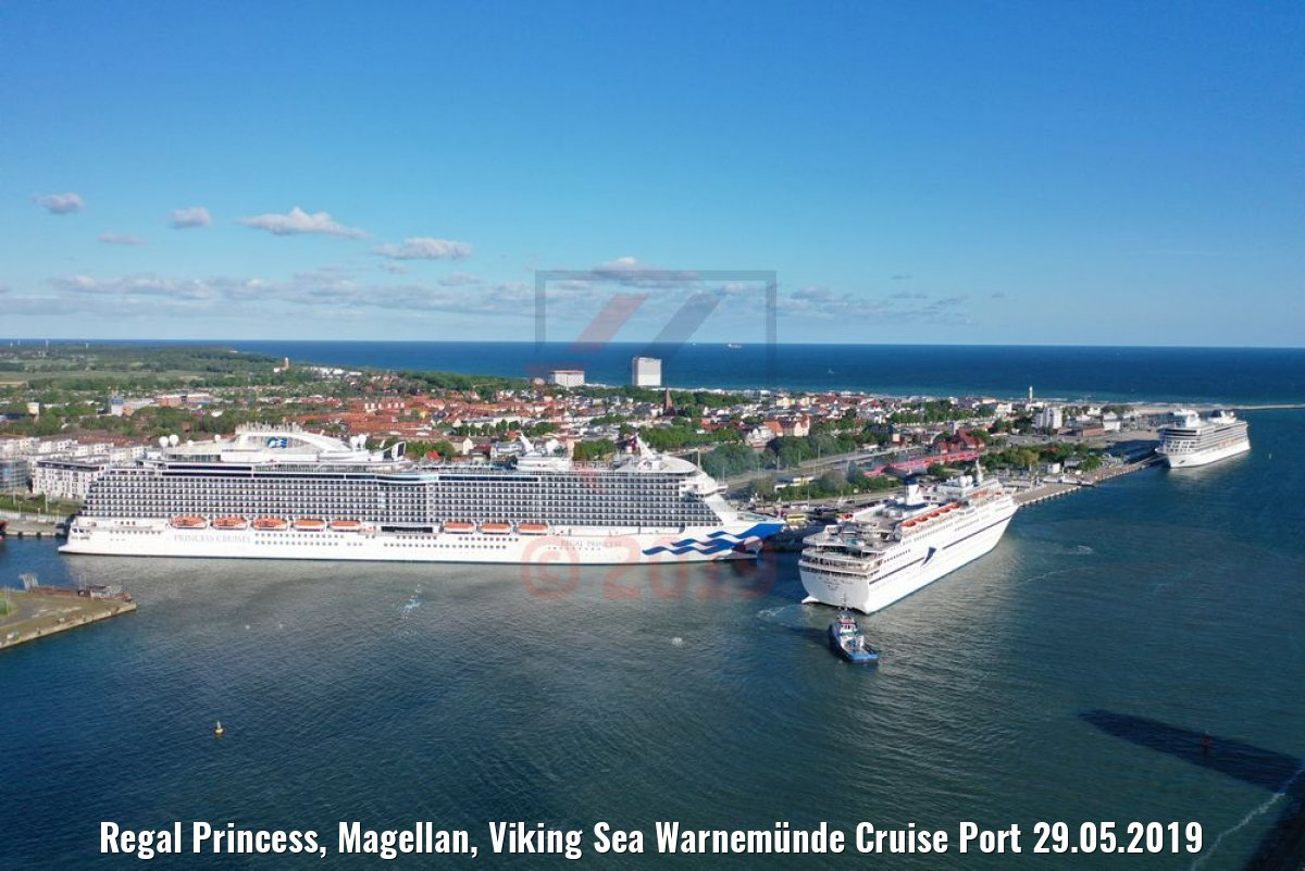 Regal Princess, Magellan, Viking Sea Warnemünde Cruise Port 29.05.2019