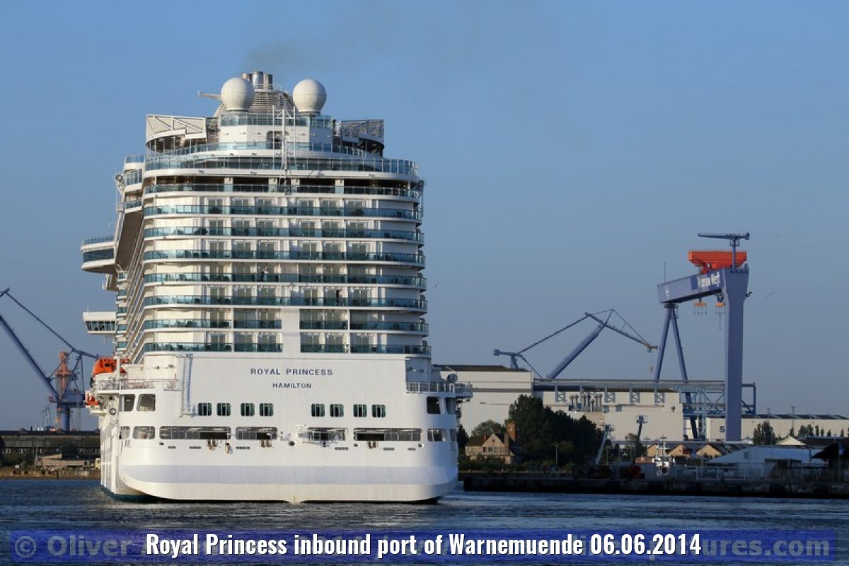 Royal Princess inbound port of Warnemuende 06.06.2014