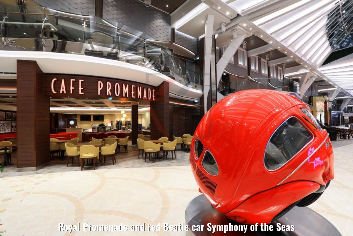 Royal Promenade and red Beatle car Symphony of the Seas