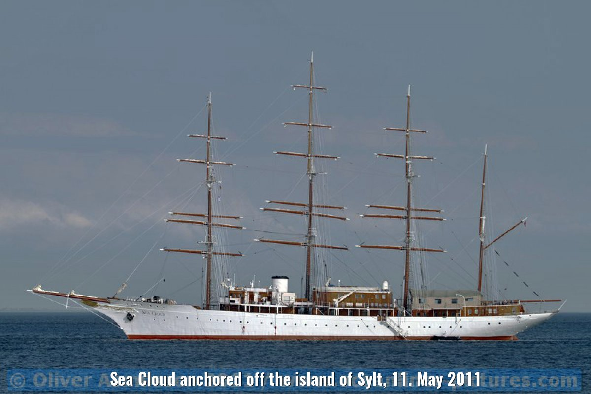 Sea Cloud anchored off the island of Sylt, 11. May 2011