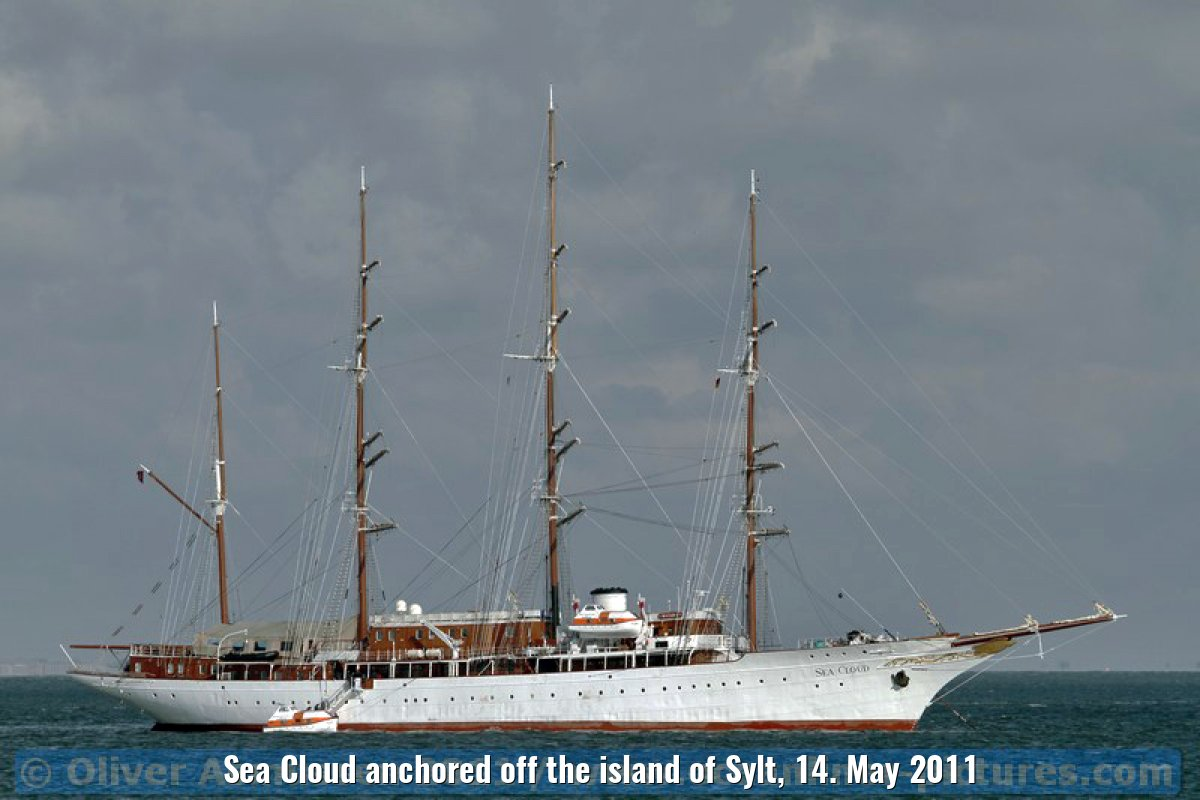 Sea Cloud anchored off the island of Sylt, 14. May 2011
