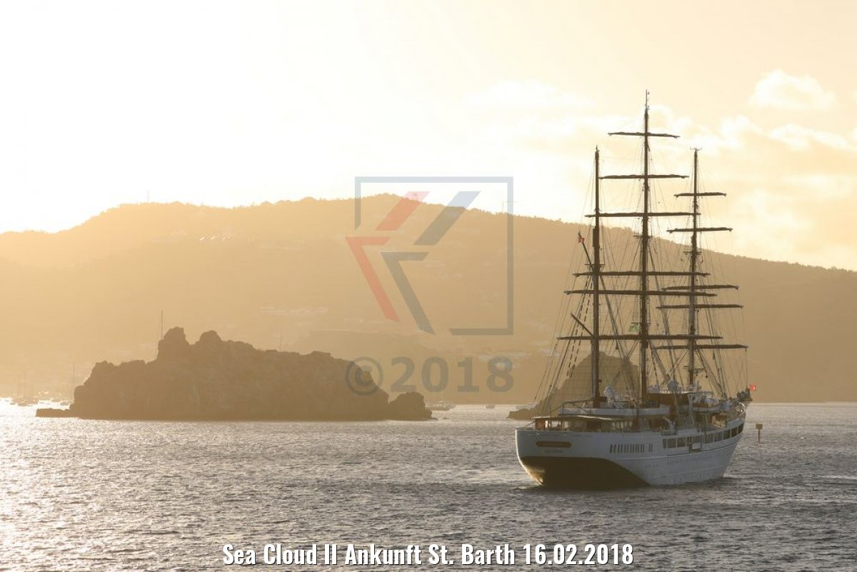 Sea Cloud II Ankunft St. Barth 16.02.2018