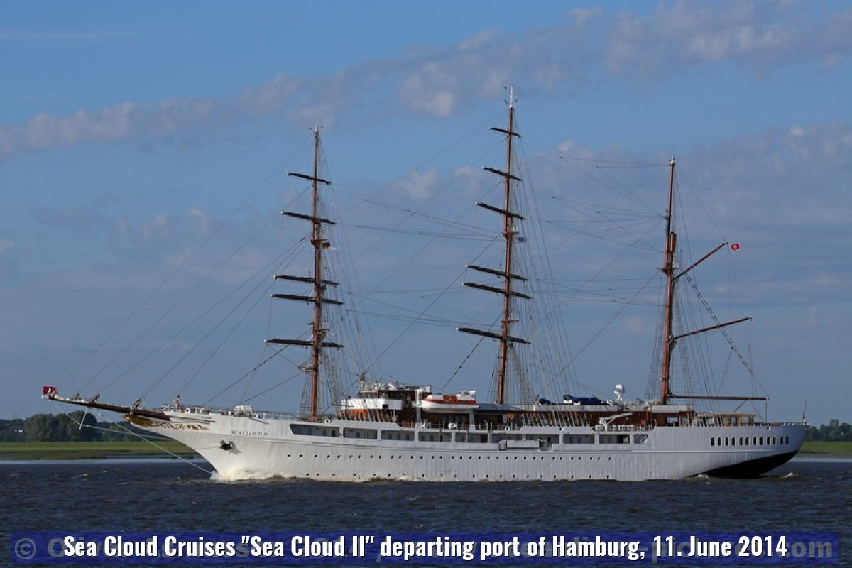 "Sea Cloud Cruises ""Sea Cloud II"" departing port of Hamburg, 11. June 2014"