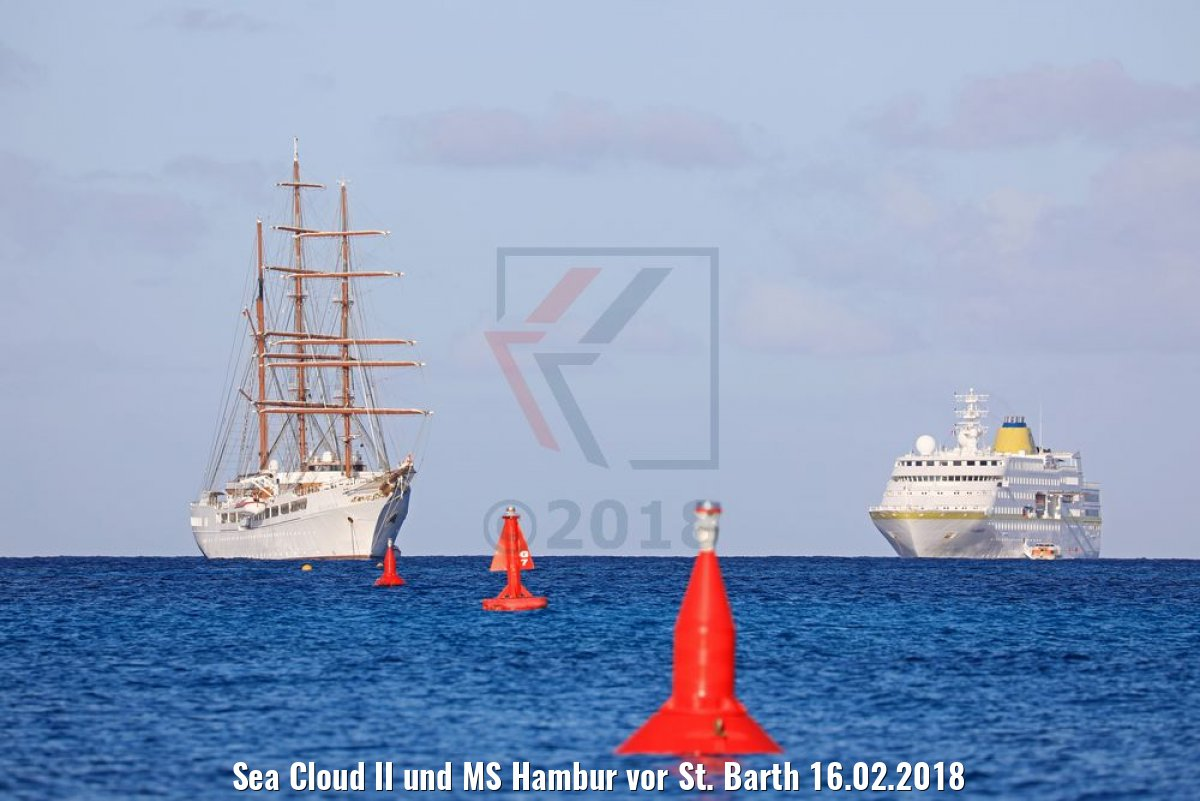 Sea Cloud II und MS Hambur vor St. Barth 16.02.2018
