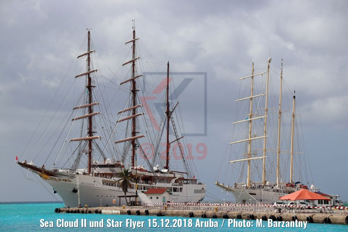 Sea Cloud II und Star Flyer 15.12.2018 Aruba / Photo: M. Barzantny