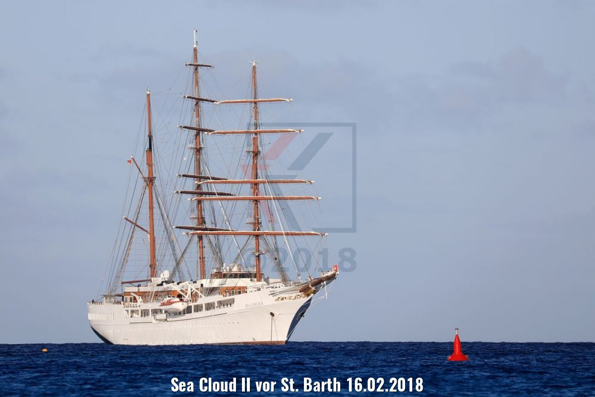 Sea Cloud II vor St. Barth 16.02.2018