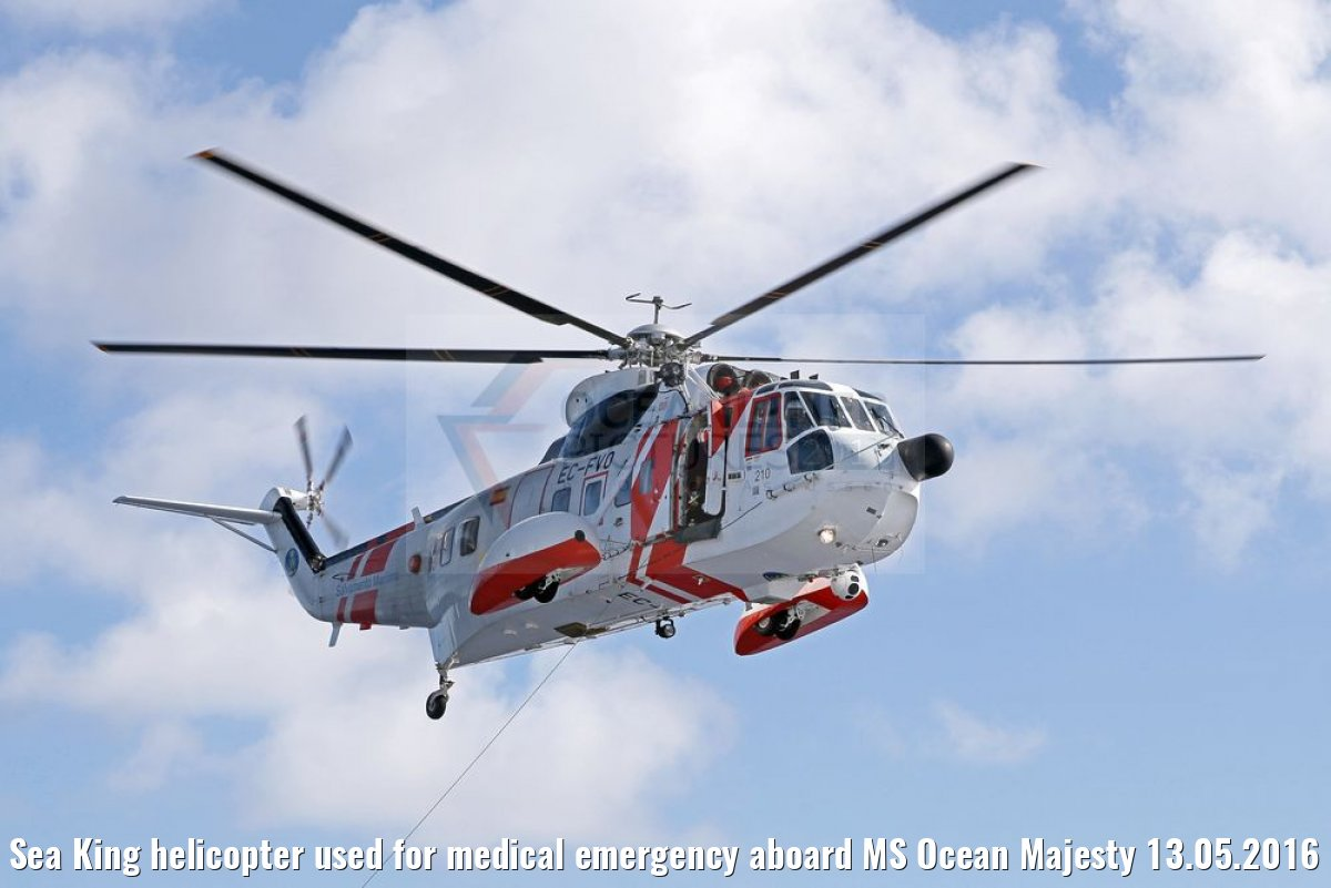 Sea King helicopter used for medical emergency aboard MS Ocean Majesty 13.05.2016