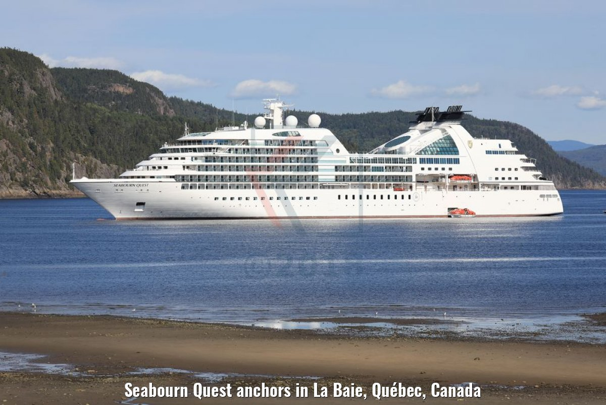 Seabourn Quest anchors in La Baie, Québec, Canada