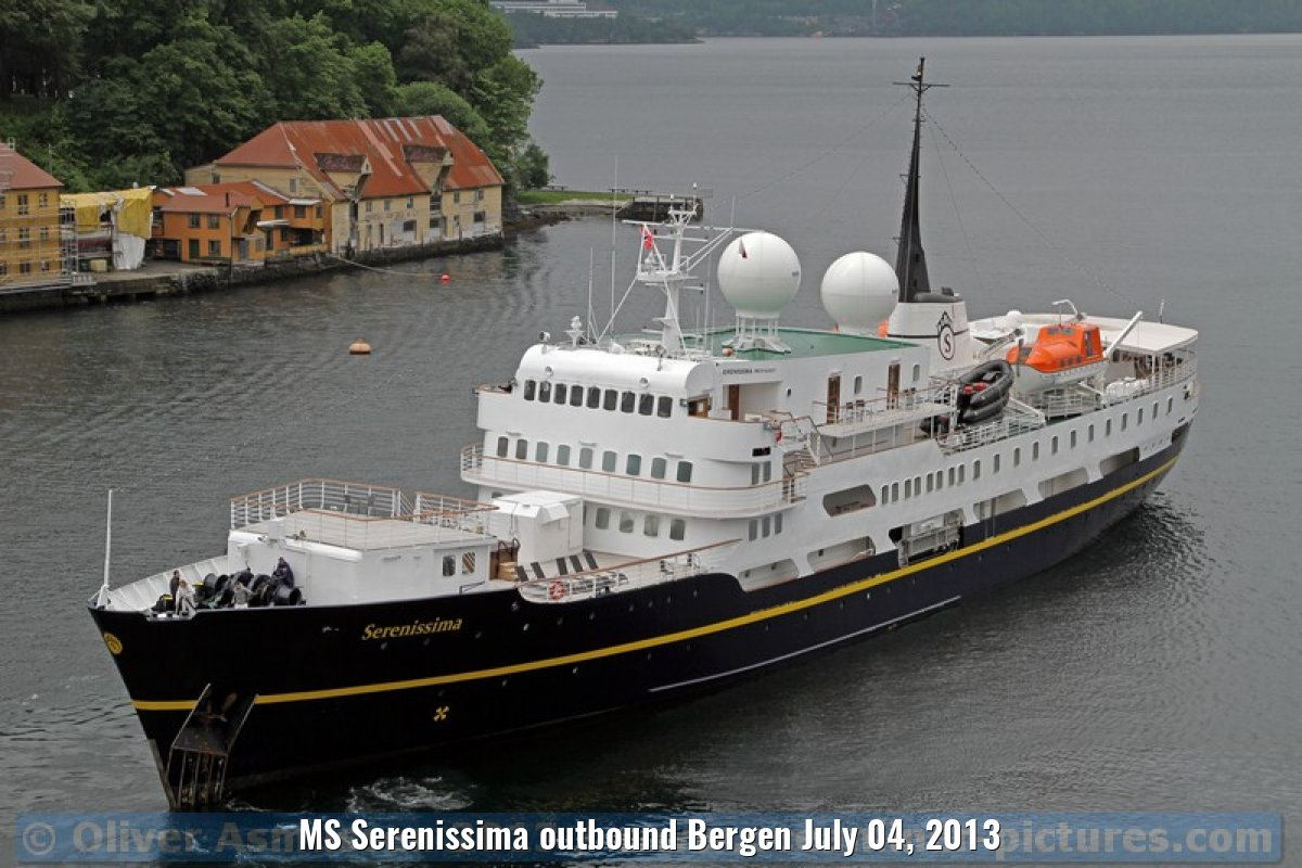MS Serenissima outbound Bergen July 04, 2013