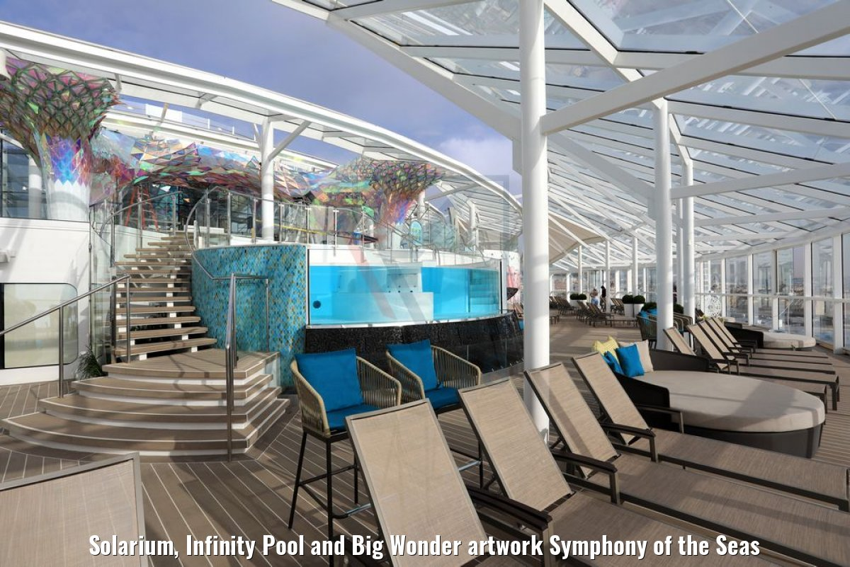 Solarium, Infinity Pool and Big Wonder artwork Symphony of the Seas