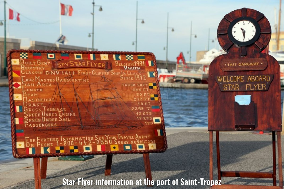 Star Flyer information at the port of Saint-Tropez