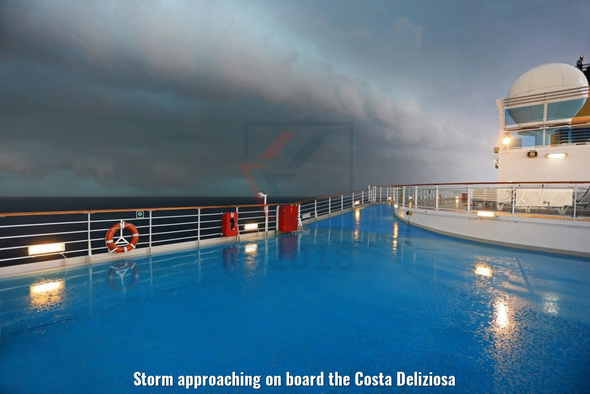 Storm approaching on board the Costa Deliziosa