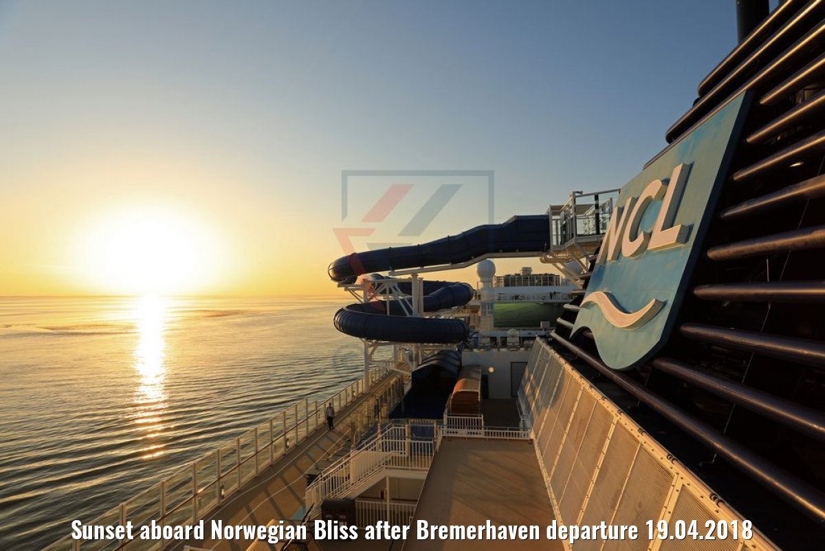 Sunset aboard Norwegian Bliss after Bremerhaven departure 19.04.2018