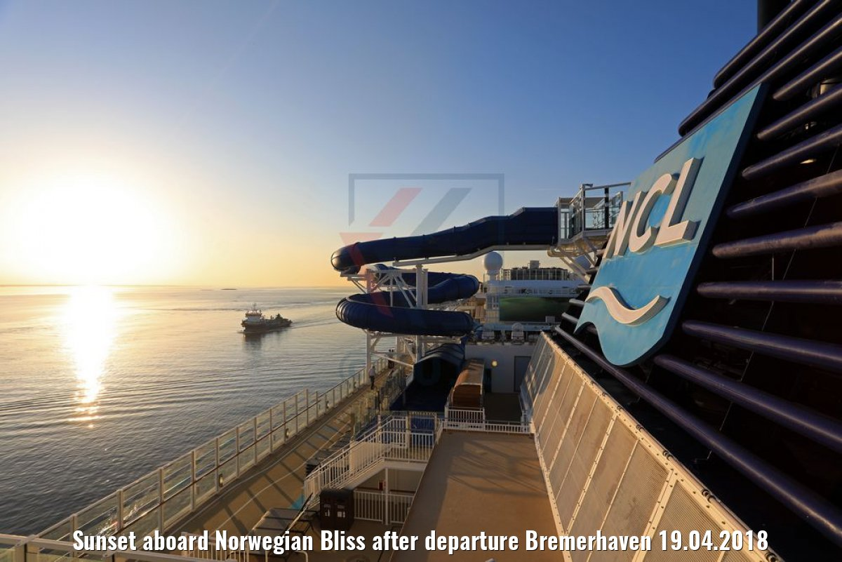 Sunset aboard Norwegian Bliss after departure Bremerhaven 19.04.2018