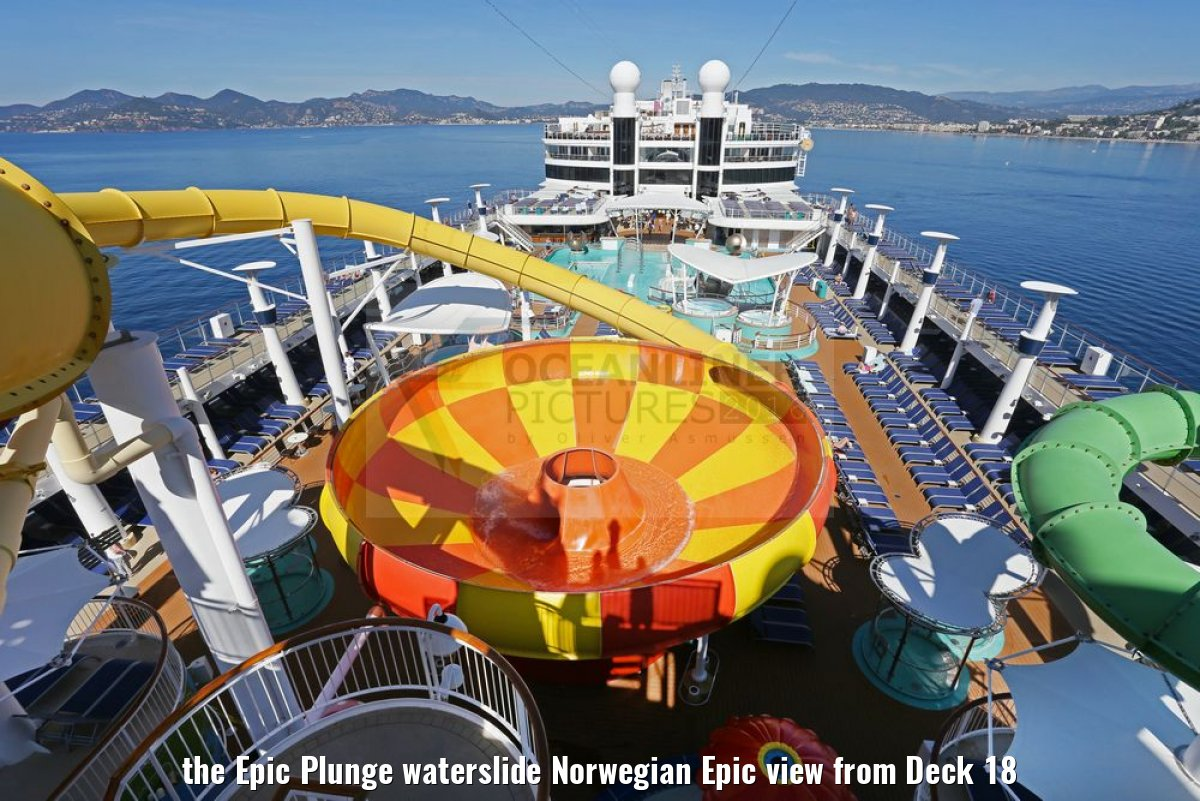 the Epic Plunge waterslide Norwegian Epic view from Deck 18