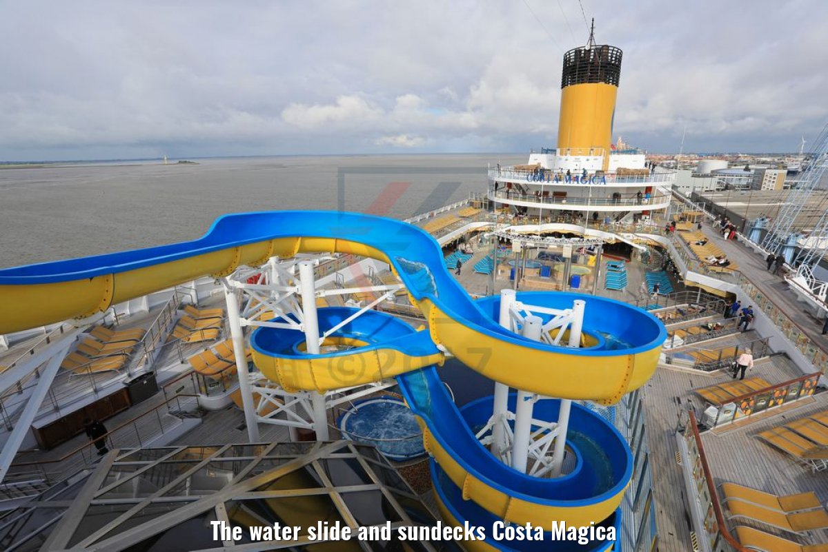 The water slide and sundecks Costa Magica