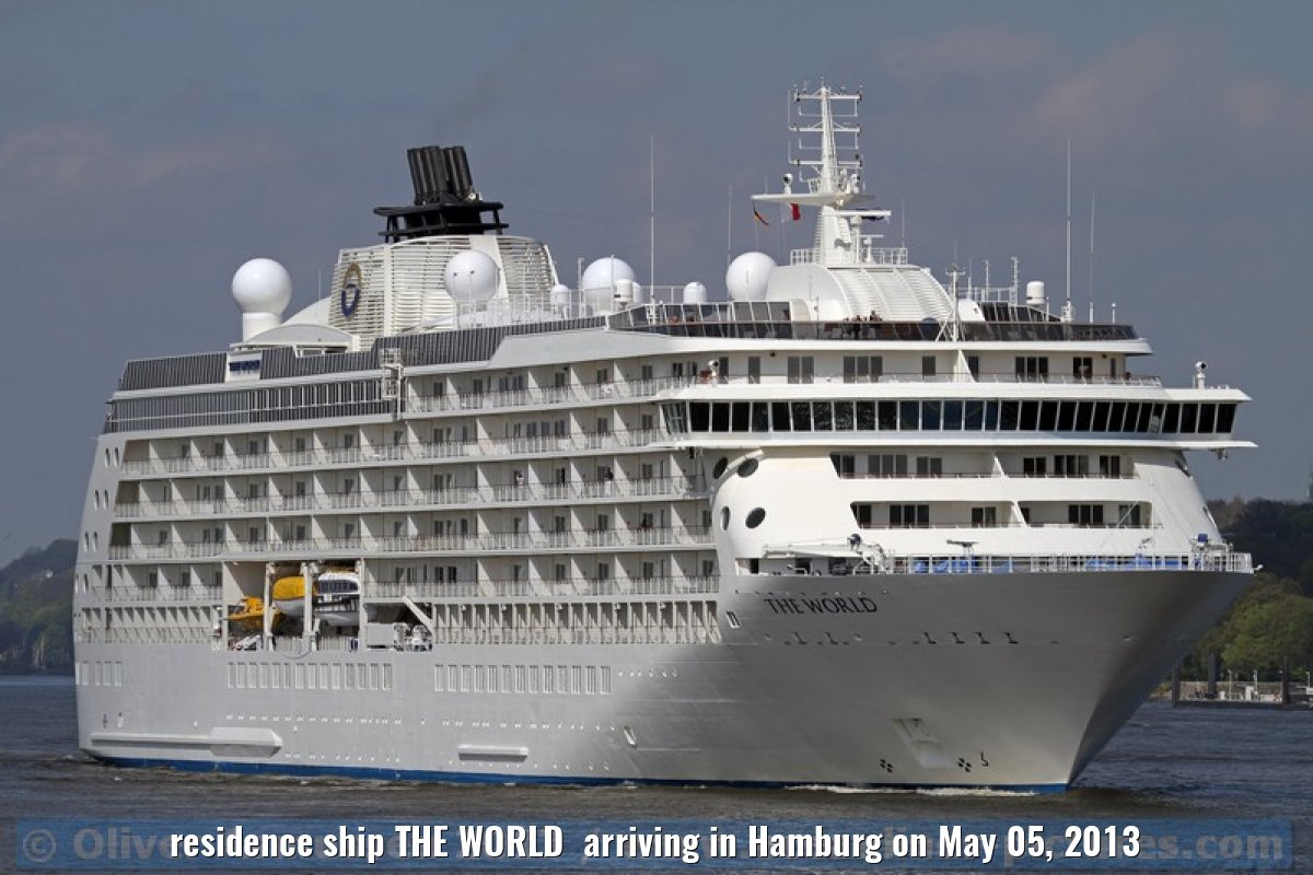 residence ship THE WORLD arriving in Hamburg on May 05, 2013