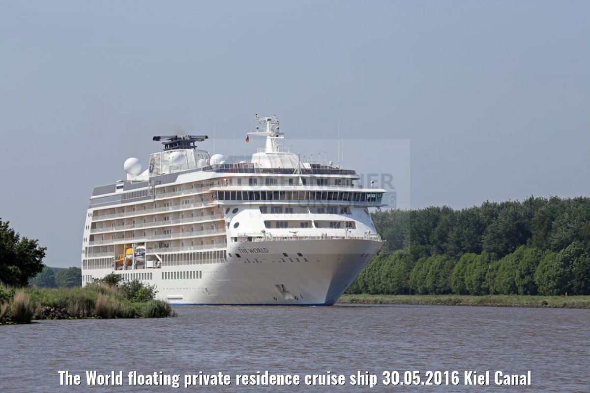 The World floating private residence cruise ship 30.05.2016 Kiel Canal