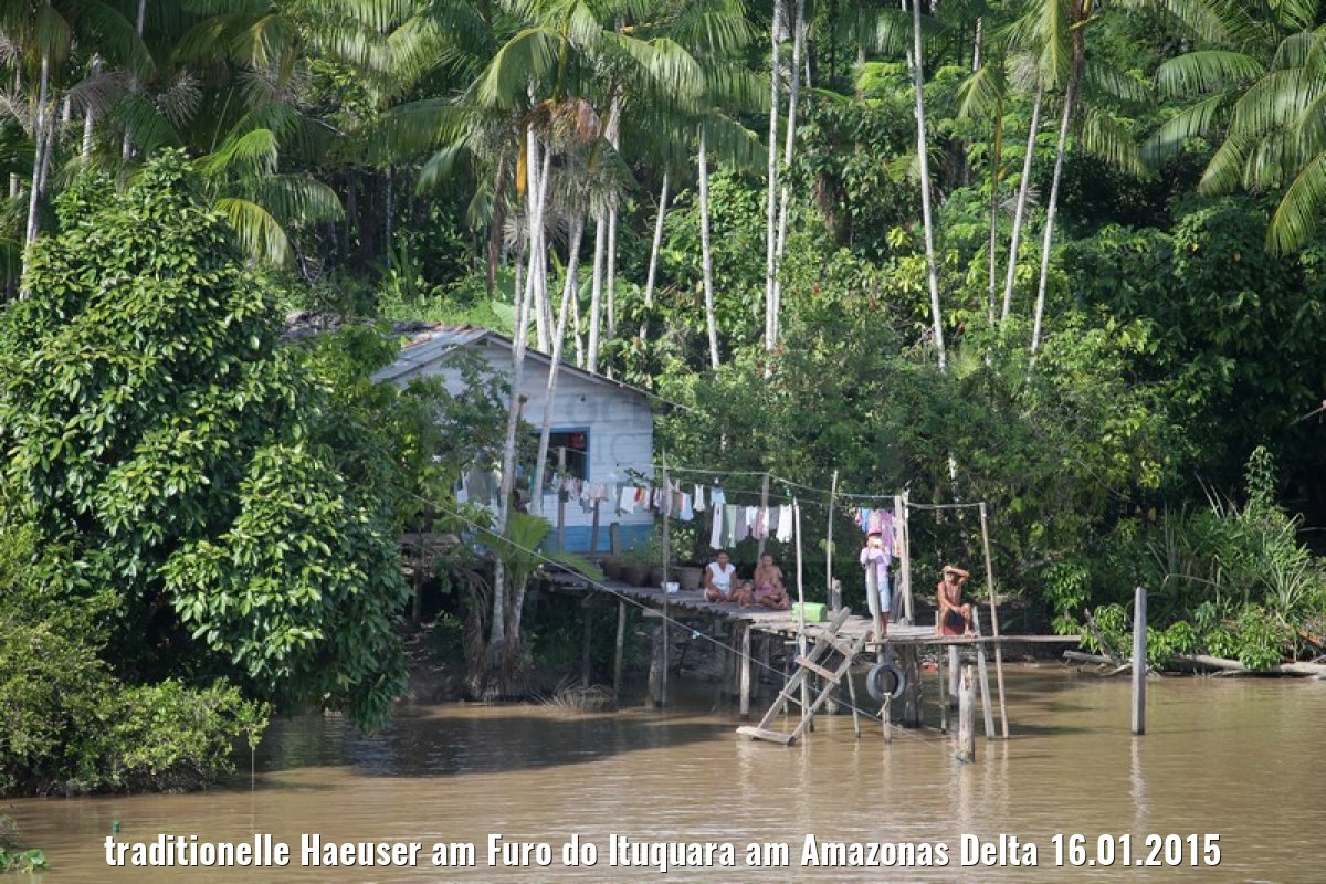 traditionelle Haeuser am Furo do Ituquara am Amazonas Delta 16.01.2015
