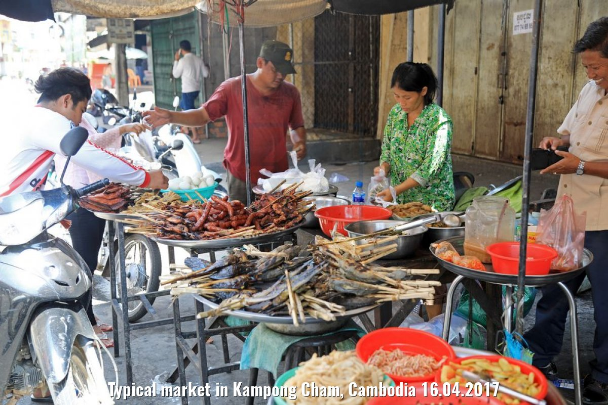 Typical market in Kampong Cham, Cambodia 16.04.2017