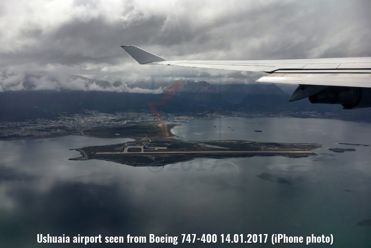 Ushuaia airport seen from Boeing 747-400 14.01.2017 (iPhone photo)