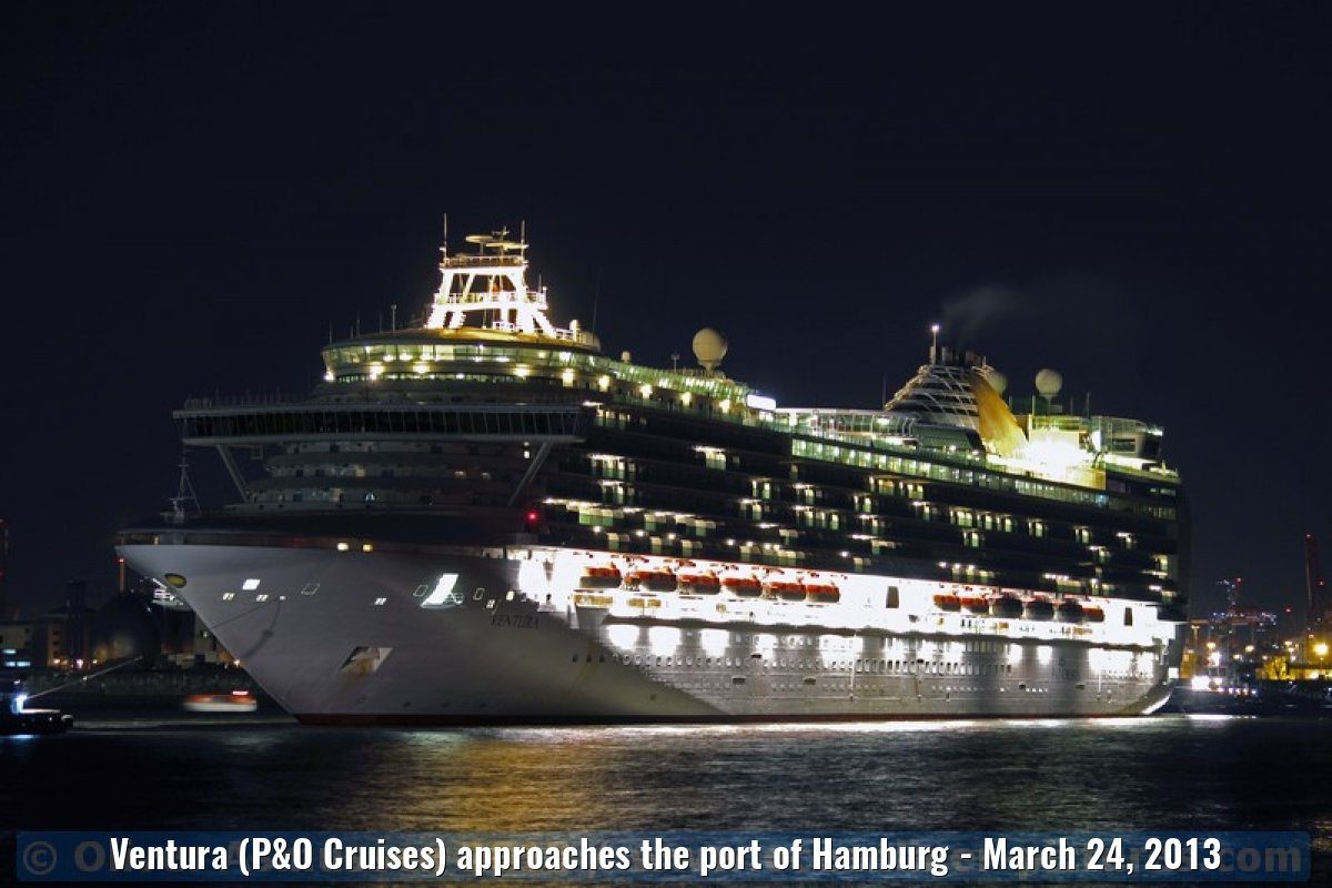 Ventura (P&O Cruises) approaches the port of Hamburg - March 24, 2013