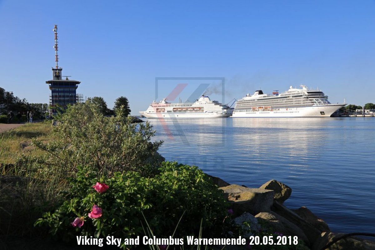 Viking Sky and Columbus Warnemuende 20.05.2018