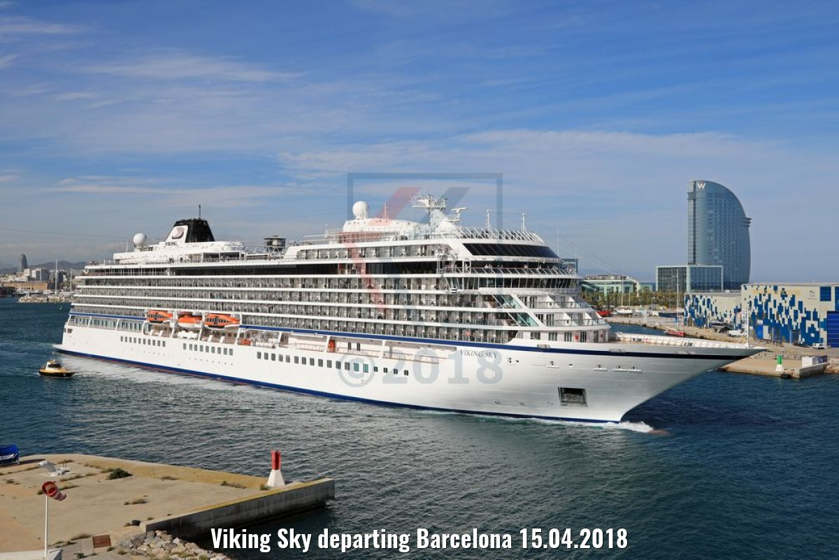 Viking Sky departing Barcelona 15.04.2018