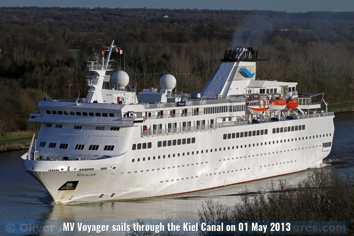MV Voyager sails through the Kiel Canal on 01 May 2013