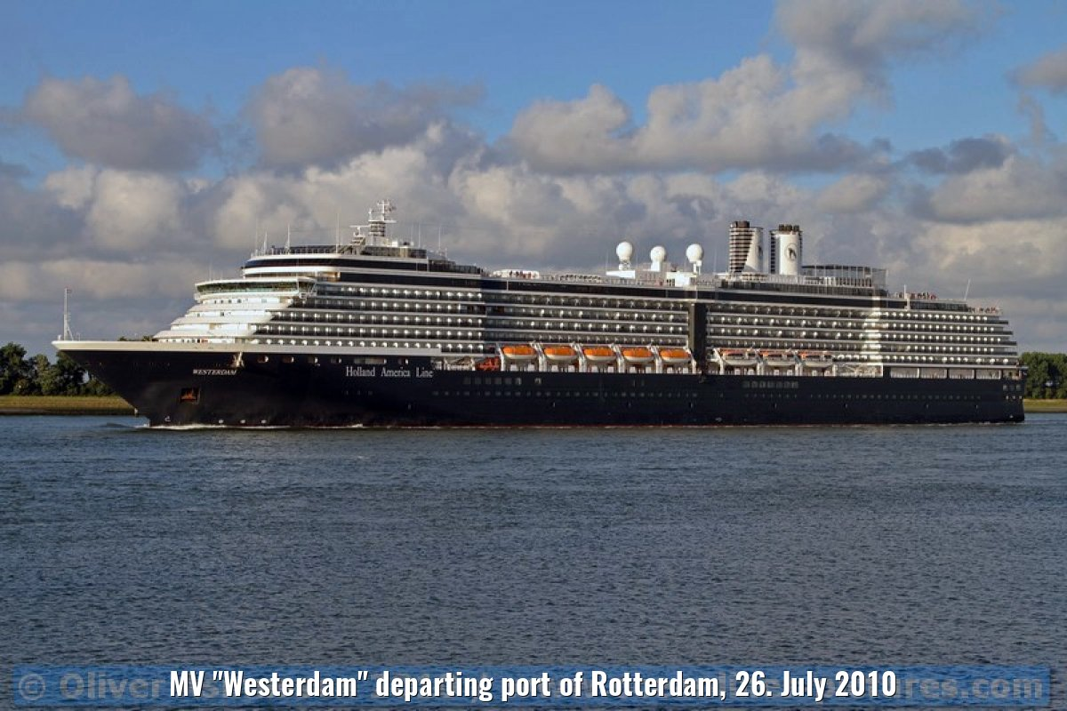 "MV ""Westerdam"" departing port of Rotterdam, 26. July 2010"