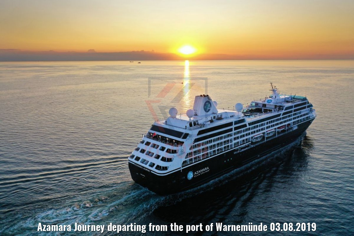 Azamara Journey departing from the port of Warnemünde 03.08.2019