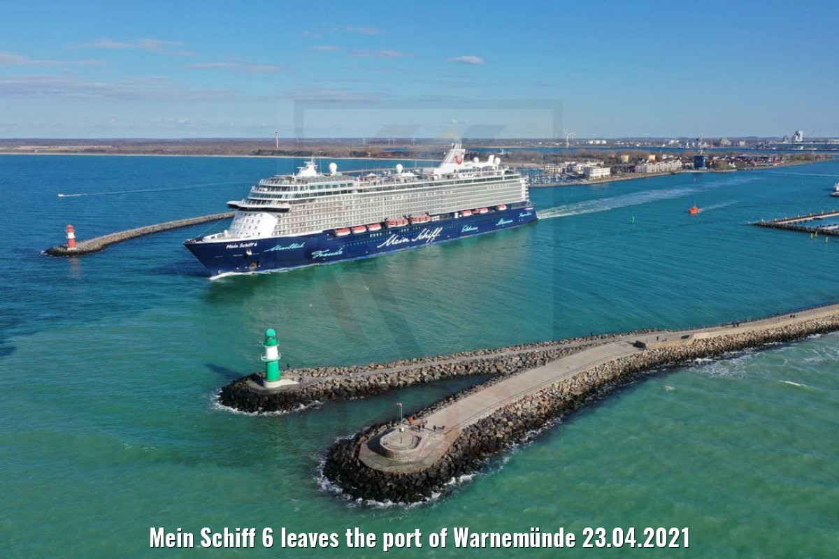 Mein Schiff 6 leaves the port of Warnemünde 23.04.2021